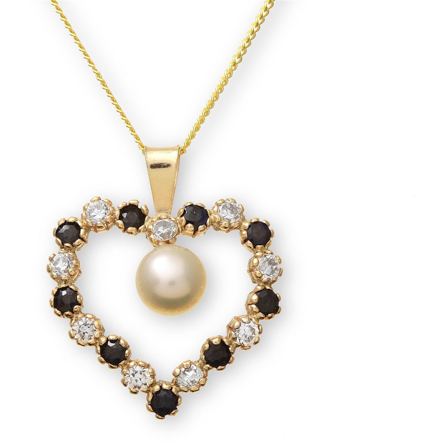 Large heart shaped natural gemstone and pearl yellow gold pendant necklace - G&S Diamonds