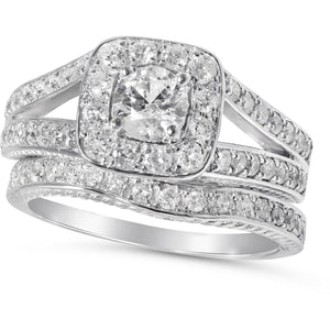 Bridal Set of Matching Engagement and Wedding ring - 1 carat Diamond Total
