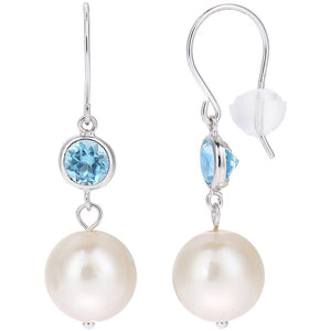 PEARL DROP EARRINGS WITH BLUE TOPAZ IN 18CT WHITE GOLD - G&S Diamonds