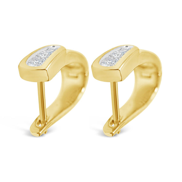 DIAMOND DROP TRILOGY EARRINGS WITH 1/3 CARAT TOTAL LARGE NATURAL DIAMONDS IN LUXURIOUS YELLOW GOLD - G&S Diamonds