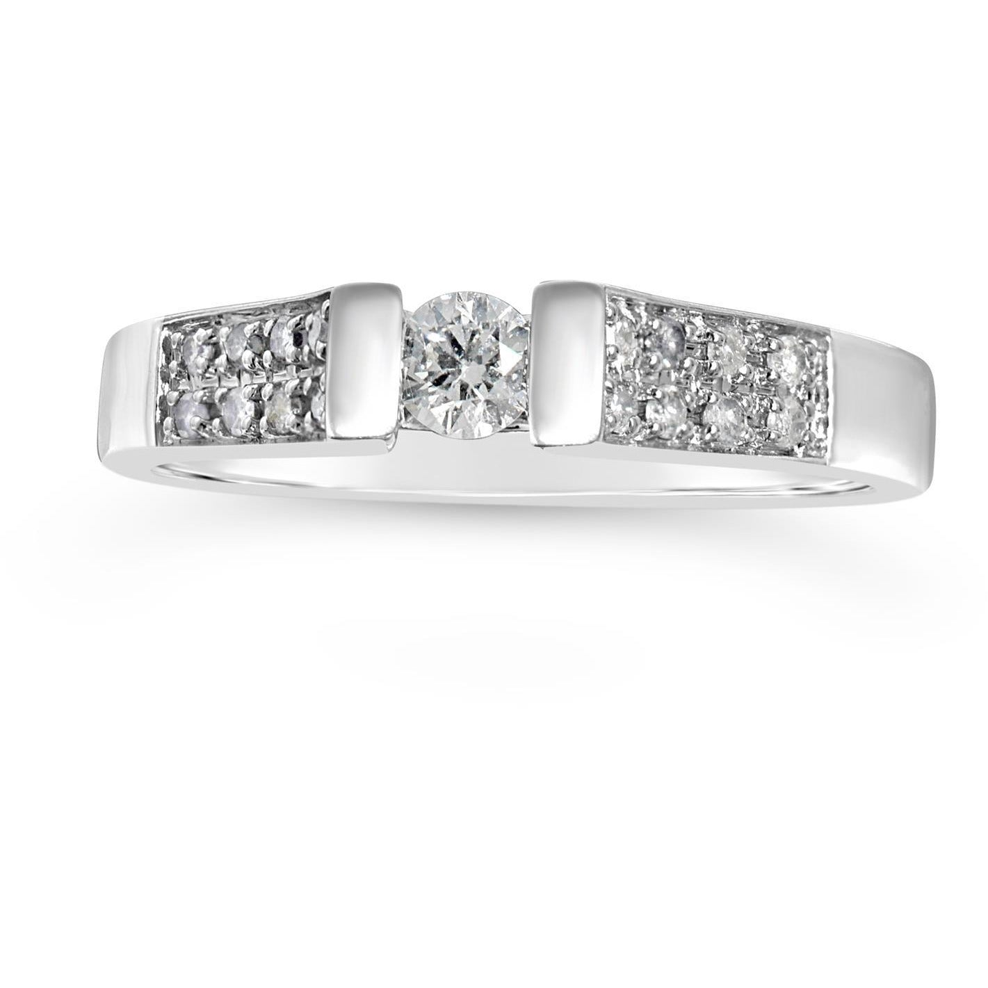 wide band solitaire ring with stone set shoulders - white gold ring