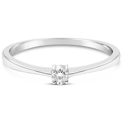 diamond rings for women white gold with a small solitaire diamond - G&S Diamonds