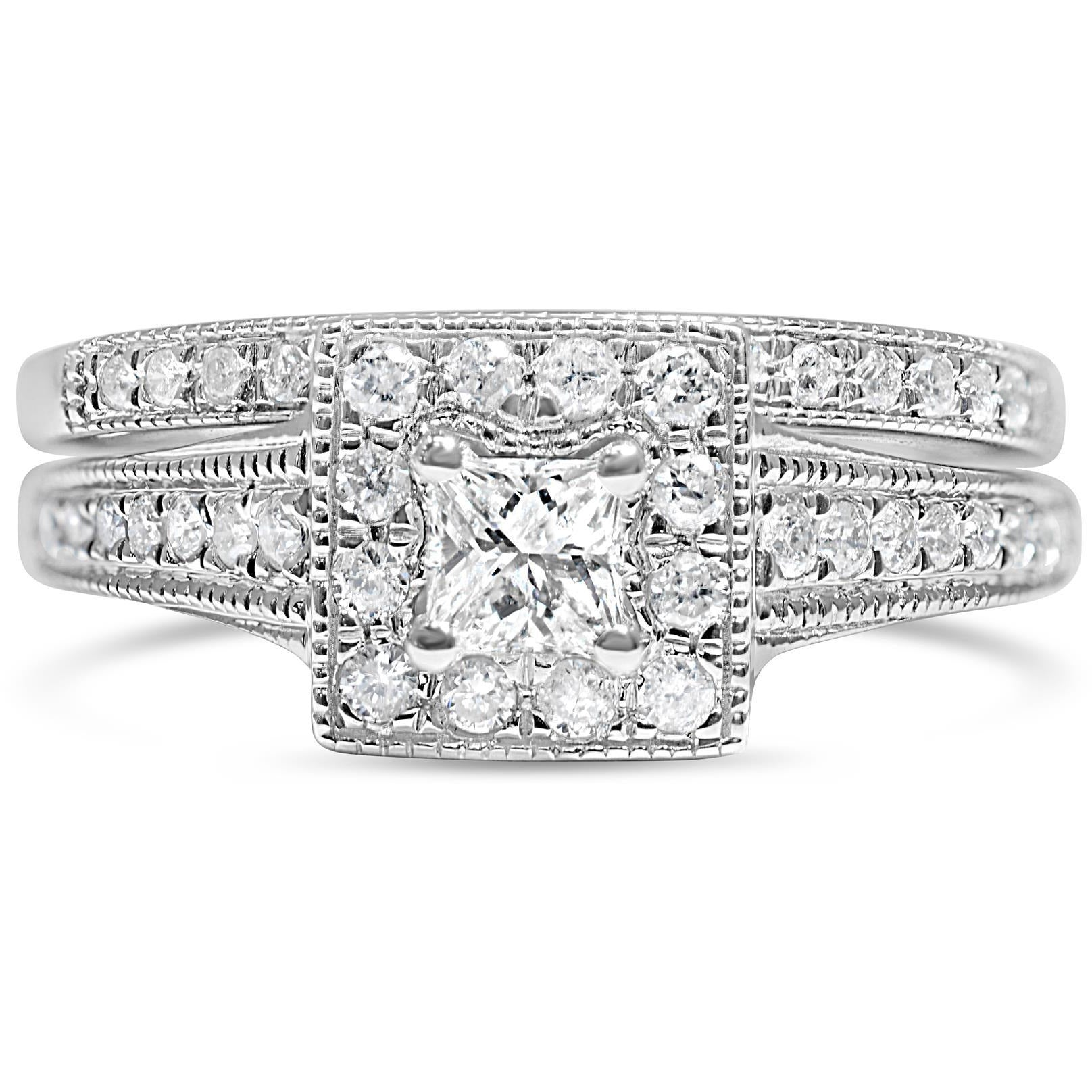 Bridal Set Of Princess cut Diamond Engagement and Wedding Ring in White Gold