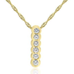 6 Stone Diamond Drop Necklace 0.31ct Bezel Set in 14K Yellow Gold