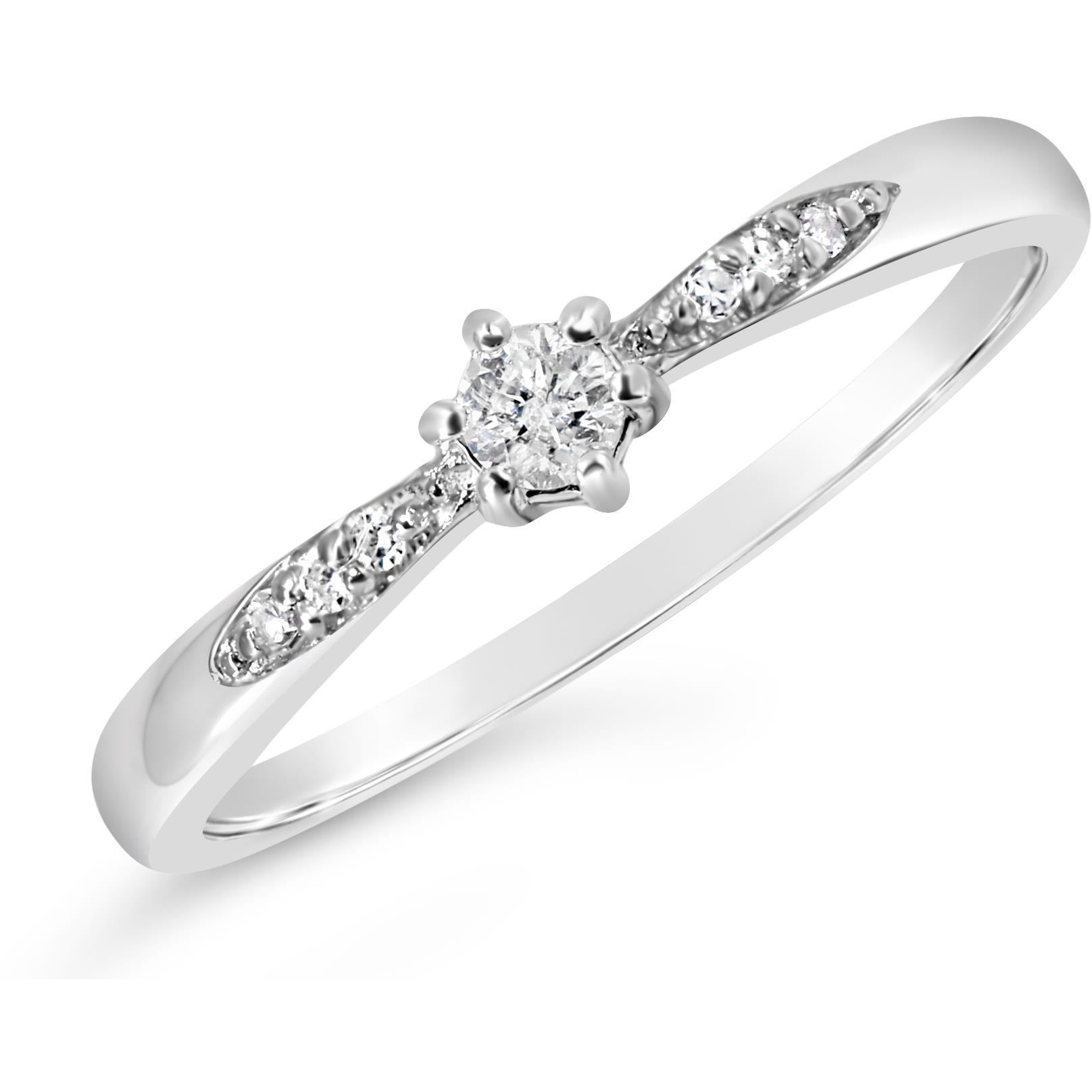 promise ring diamond solitaire with diamonds on white gold band