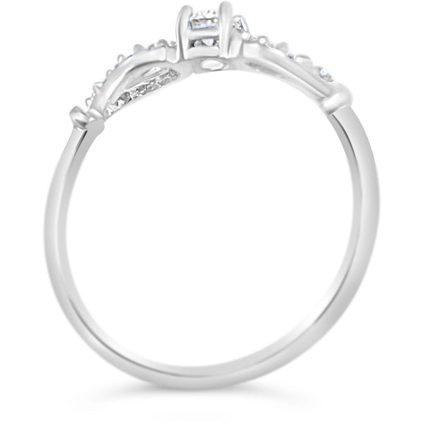 Art Deco style Diamond Ring - ladies white gold ring