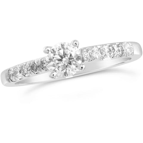 0.50 carat solitaire white gold diamond ring with large diamonds on the shoulders - G&S Diamonds