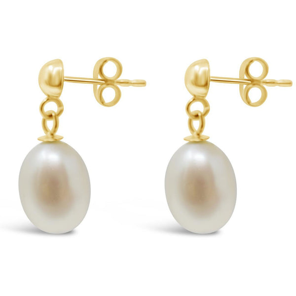 Large Pearl Drop Earrings In Solid Yellow Gold