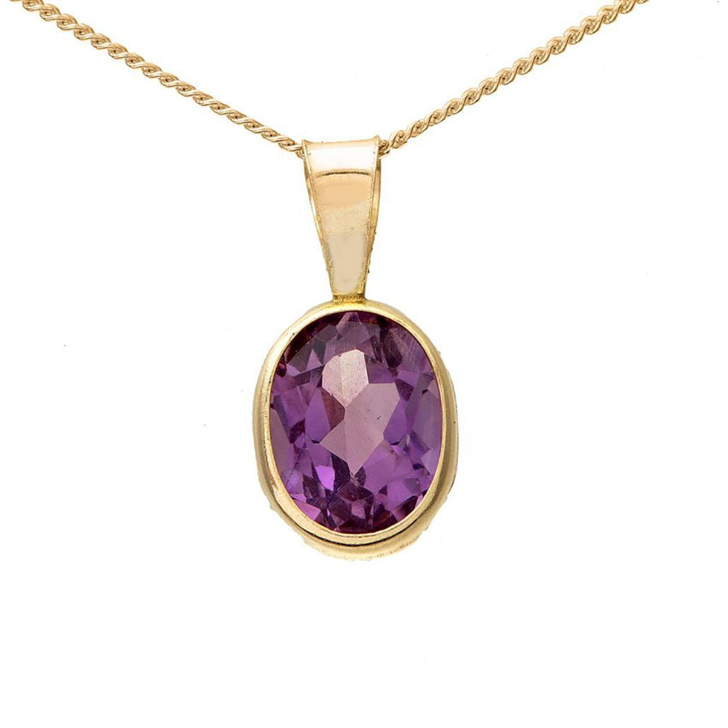 Yellow gold necklace pendant with choice of large oval 1 carat rubover set Amethyst, Garnet or Citrine in presentation box - G&S Diamonds