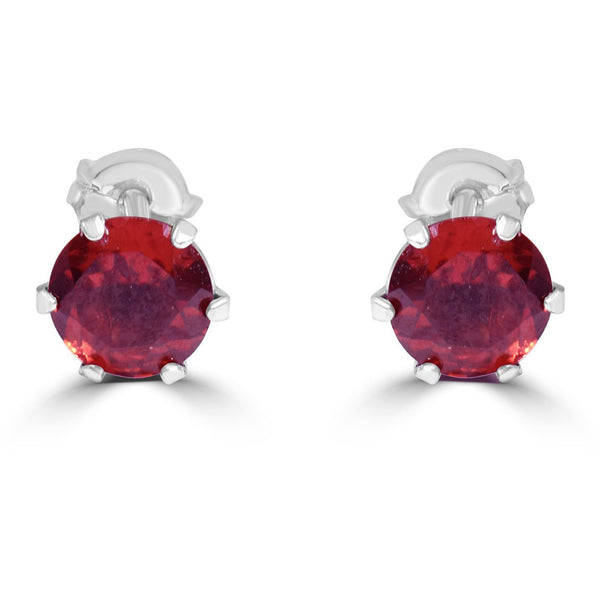 Garnet Earrings in Platinum