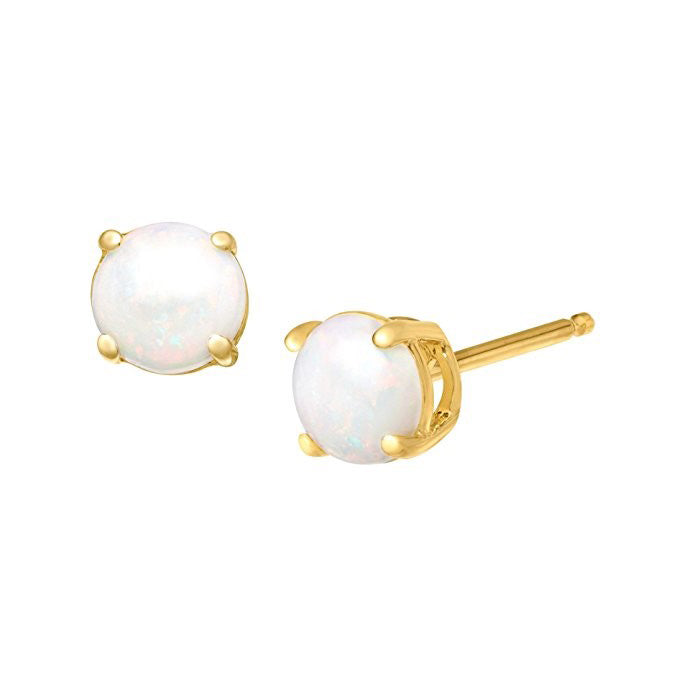 Opal Earrings Set in 9ct Yellow Gold