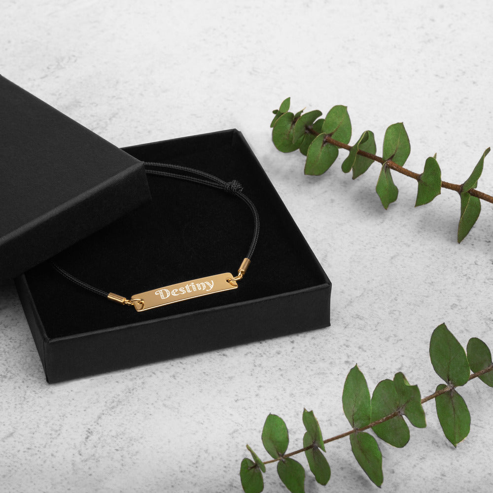 Destiny Engraved Bar String Bracelet