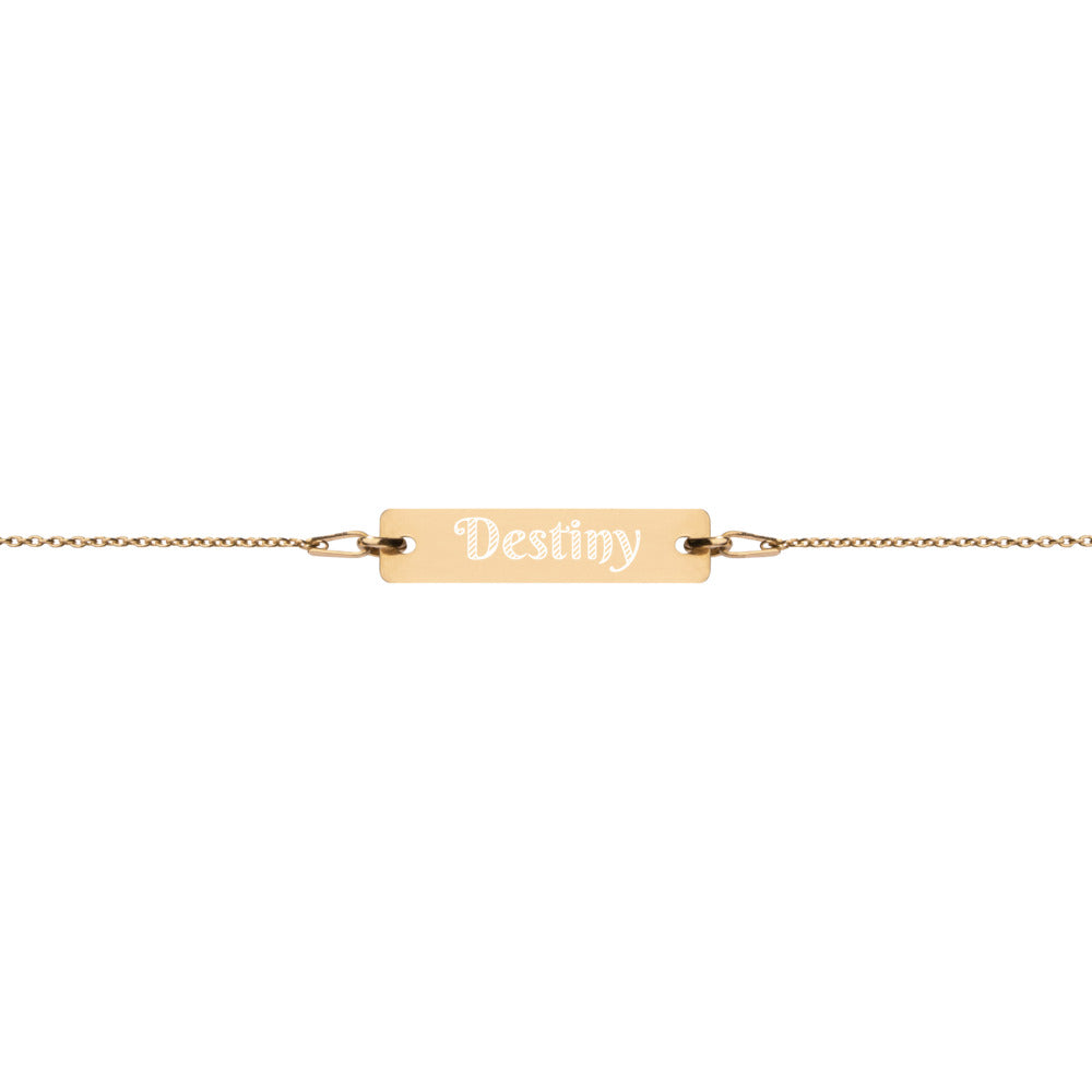 Destiny Engraved Bar Chain Bracelet