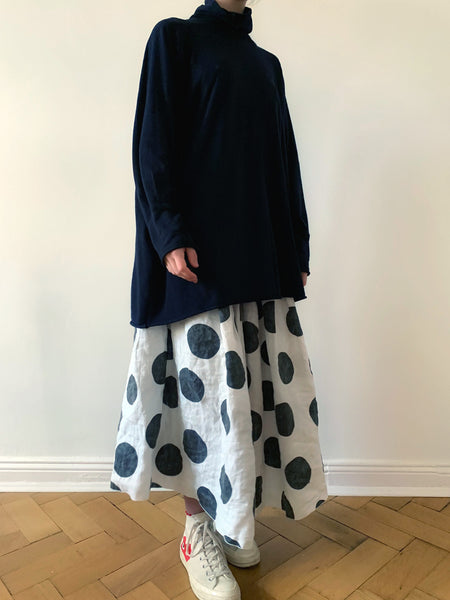 Lilly polka dots full linen skirt