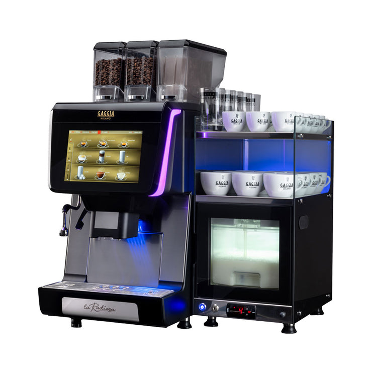Gaggia La Radiosa Commercial Bean to Cup Coffee Machine side view with cup warmer and milk fridge