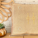 Faded Natural Beige with Yellow and Blue Cactus Silk Cushion