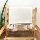 Natural Oat Moroccan Pom Pom Throw Blanket