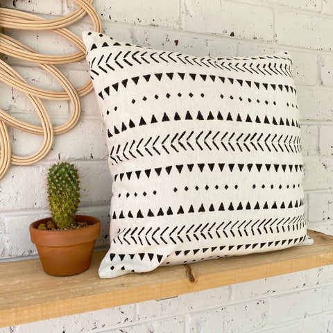 White Mud Cloth Inspired Cushion