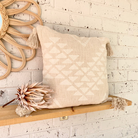 Oat White Aztec Tassel Cushion
