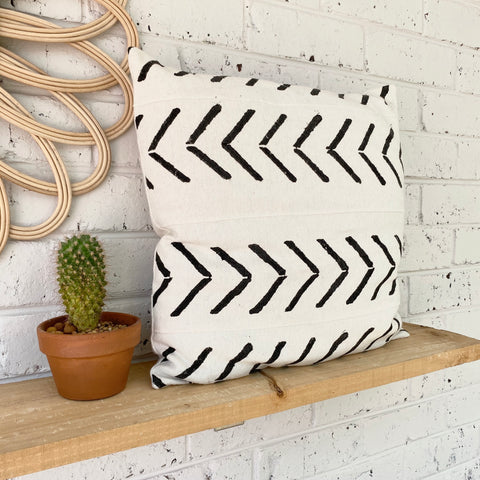 White Arrows Mud Cloth Inspired Cushion Cover