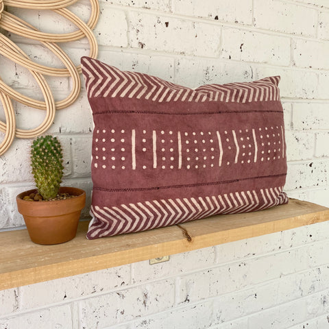 Grape Lumbar Mud Cloth Inspired Cushion