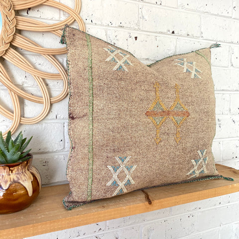 Sandy Brown with White and Blue Cactus Silk Cushion