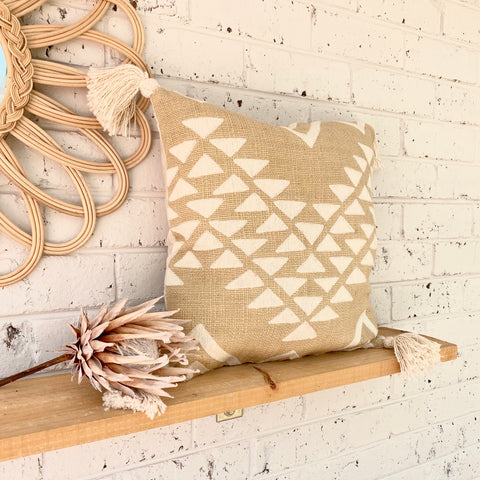 Beige Aztec Tassel Cushion