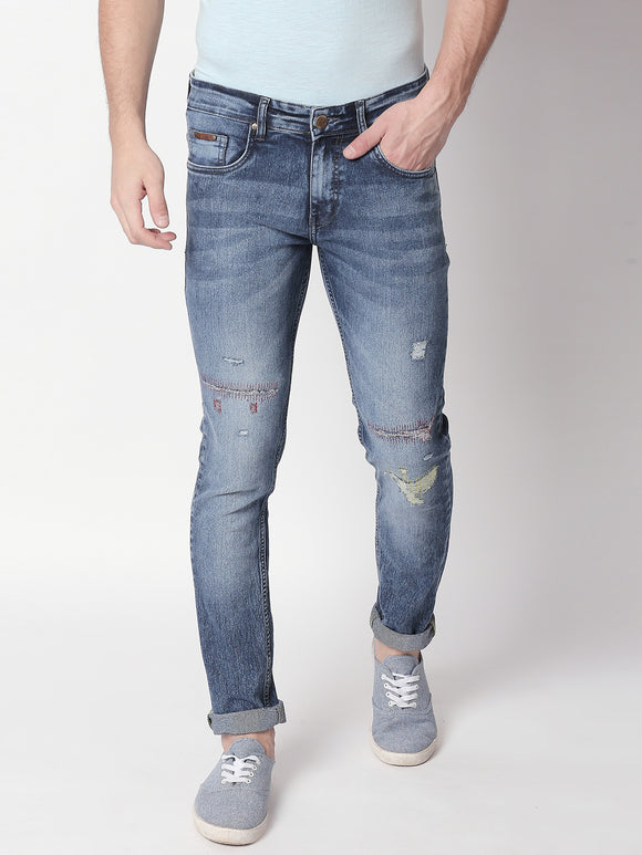 Color Embroidered, Ripped and Repaired Men's Jeans