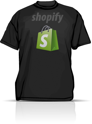 A black t-shirt with the shopify logo
