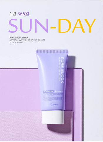 A'PIEU (APIEU) Pure Block Natural Water-Proof Sun Cream SPF50+/PA+++ Asian Korean Cosmetics Skincare Canada thekshop