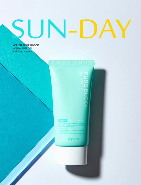 A'PIEU Pure Block Aqua Sun Gel SPF50+ PA+++ Montreal Canada Best Korean Asian Sunblock Sunscreen