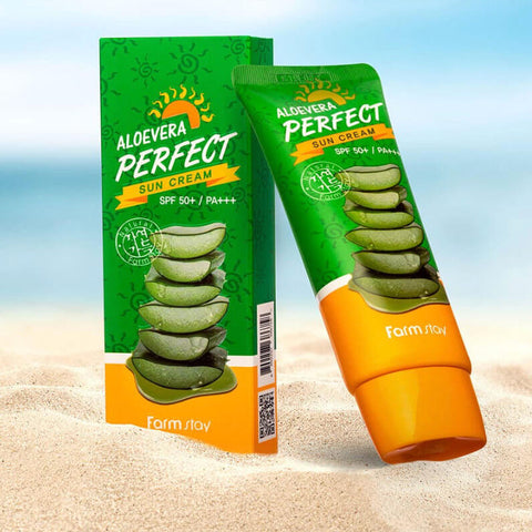 FARM STAY Aloe Vera Perfect Sun Cream SPF50+ PA+++ Montreal Canada Best Korean Asian Sunscreen Sunblock Sun Protection