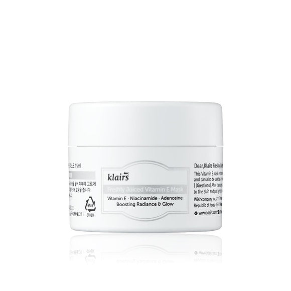 KLAIRS Freshly Juiced Vitamin E Mask asian korean skincare montreal toronto canada thekshop thekshop.ca natural organic vegan cruelty-free cosmetics