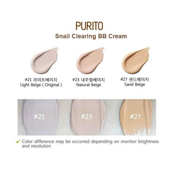Purito Snail Clearing BB Cream - (SPF38 PA+++) Korean Asian Skincare Canada Montreal Toronto Vancouver thekshop 21 light beige 23 natural beige 27 sand beige