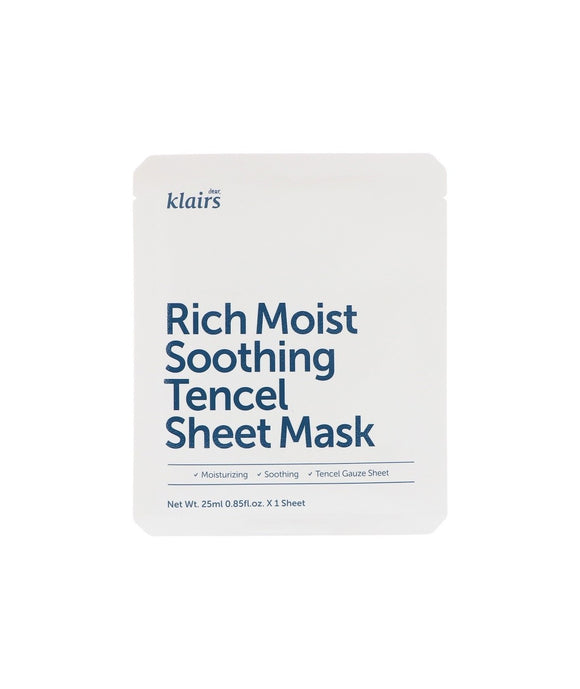 Klairs Rich Moist Soothing Tencel Sheet Mask asian korean skincare montreal toronto canada thekshop thekshop.ca natural organic vegan cruelty-free cosmetics