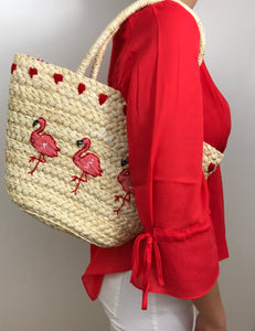 SAC PAILLE - FLAMANT ROSE