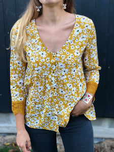 BLOUSE FLEURIE - MOUTARDE