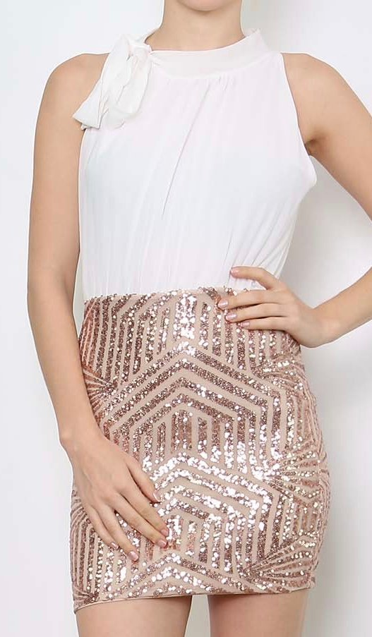 ROBE SEQUINS BLANCHE & OR