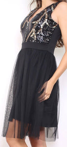 ROBE SEQUINS NOIR & OR