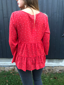 BLOUSE POIS - ROUGE