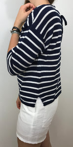 PULL MARINIERE LACETS - BLEU MARINE