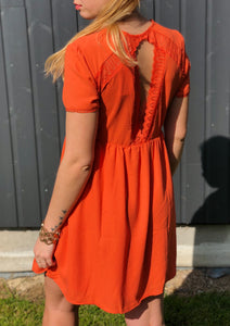 ROBE DOS NU DENTELLE - ORANGE
