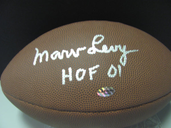Marv Levy Autographed Football Buffalo Bills H.O.Fer - Leaf COA