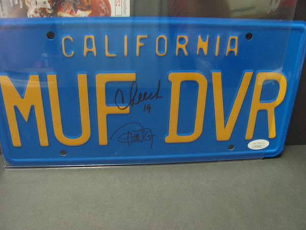 "Cheech and Chong Signed ""MUF DVR"" License Plate JSA Authenticated"