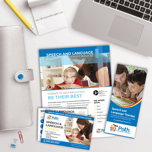 slp private practice marketing kit with flyer and brochure
