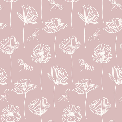 Dainty neutral pink floral Faux leather print 8x13