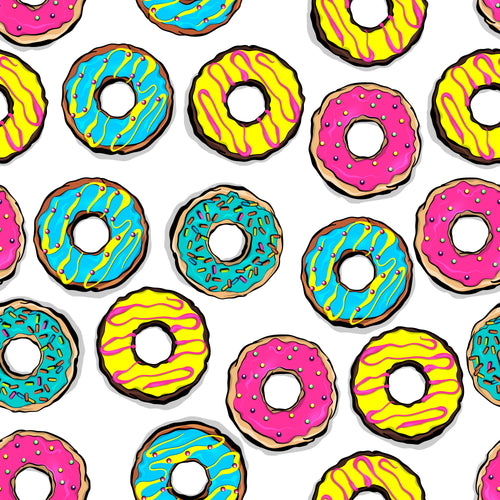 Multi colored graphic donuts 8x13 faux leather