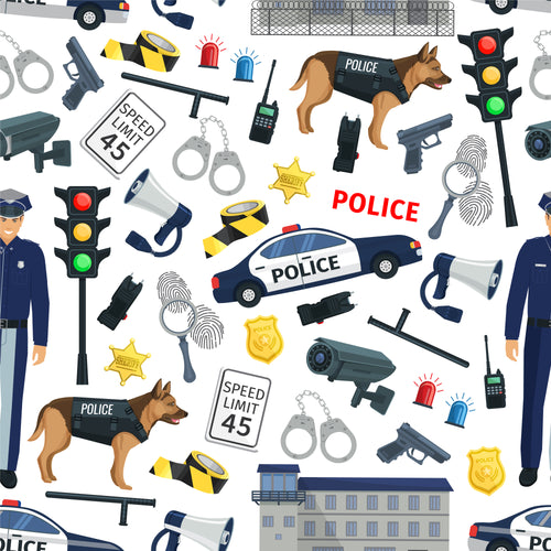 Police dog and accessories Faux leather print 8x13
