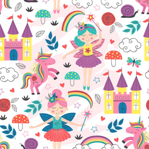 Pretty pink fairy princess unicorns and rainbows Faux leather print 8x13
