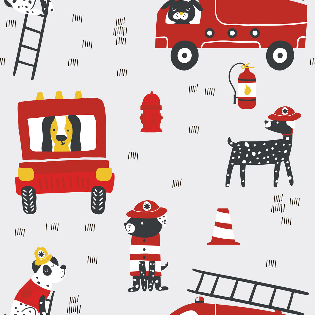Fire truck Faux leather print 8x13